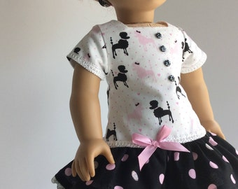 THREE PIECE POODLE Dress fits American Girl and Other 15 inch Dolls