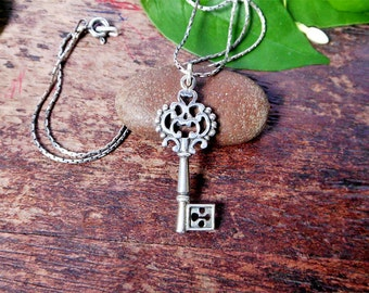Cool Sterling Silver Birthday Key Pendant With Oxidized Finish,21 Birthday Key Charm,18 Birthday Key Charm,Birthday Gift,Personalized Gifts,