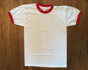 Vintage Blank Ringer Tshirt - Vintage 50-50 Tshirt - Large