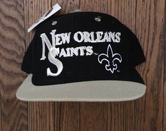 Vintage 90s Deadstock New Orleans Saints NFL Snapback Hat Baseball Cap