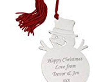Engraved Snowman Tree Decoration - Personalise with a message of your choice