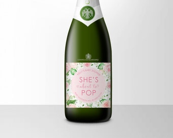 Pink Baby Shower Mini Champagne Label, About To Pop, Baby Announcement, She's About To Pop, Baby Shower Gift, Ready To Pop Shower Gift