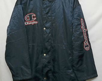 Vintage //Champion//Parka Hoodies//Raincoat Jacket //Size M//Embroided Spell Out//
