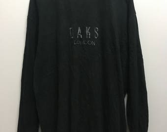 Vintage//DAKS London//Embroided lSpell Out//Big Logo//Long Sleeve Shirt//Size L//Made In Japan