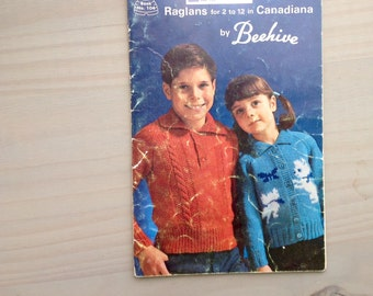 Raglans for 2 - 12 in Canadiana by BEEHIVE // PATONS // Book 104 // Vintage Sweater and Cardigan Knitting Patterns