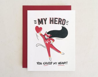My Hero Valentine // Love Superhero Cupid Heart From The Cat Red White Black Comic Book Cape Whimsical // Folded Card by Paper Pony Co.
