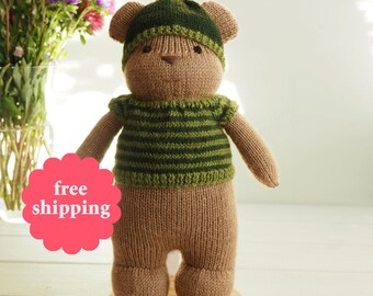 Knitted Bear Toy - teddy bear plush toy, soft toy, knitted toy, waldorf toy handmade, boy gift, gift for kids