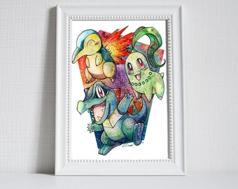 A3 Pokemon Print - Totodile, Cyndaquil and Chikorita!