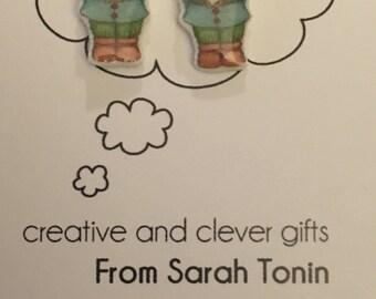 Gnome Shrink Plastic Earrings