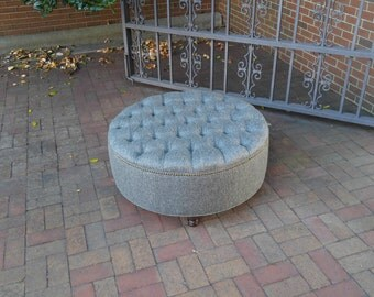 Large Round Upholstered Ottoman- Diamond Tufted Coffee Table Ottoman in Stain Proof Grey Revolution Performance Fabric~ Design 59 Furniture