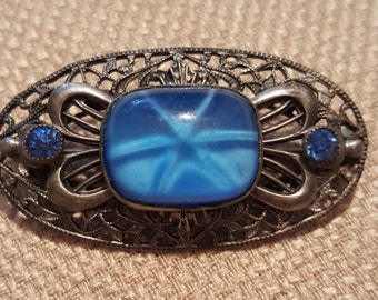 Vintage Sterling silver Pin Brooch with Blue stone