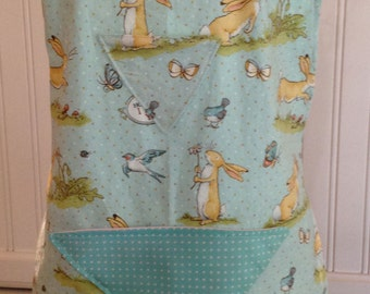 Summer Sale Mother daughter apron, daughter apron, full apron, guess how much I love you, bunny, blue bird, butter yellow ribbon, reversible