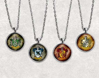 Hogwarts Houses Pendants, All Four, 25mm Pendant, Harry Potter Jewelry, Harry Potter Necklace, Hogwarts