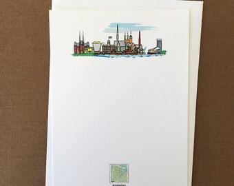 "Red Maps ""Amsterdam Skyline"" Flat Card Stationery Set"
