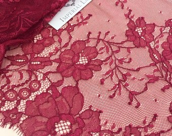 Red burgundy  lace fabric, Wedding lace, lingerie lace, burgundy red chantilly lace fabric  K00448