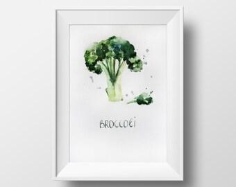 Original watercolor, broccoli watercolor, illustration watercolor, broccoli, Kitchen decor, botanical art, original art, ART OOAK