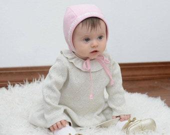 Classic Bonnet Baby Bonnet Girl Bonnet baby Bonnet Linen Bonnet Cotton Bonnet Organic Blossom pink Girl Bonnet Lace