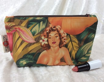 Burlesque Pin Up Mirage Case Bag Pouch fabric Alexander Henry design Handmade in England