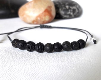 Mens gift for him bracelet Diffuser Bracelet Yoga Bracelet Black Bracelet simple bracelet minimalist Jewelry men Bead Bracelet Healing