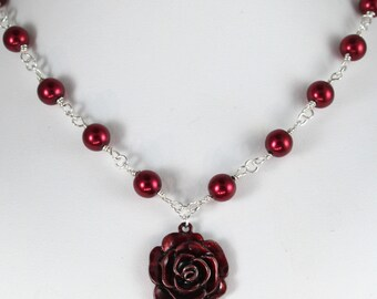 Red rose and red pearl women's necklace