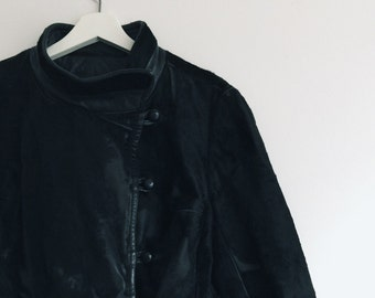 Vintage 80s Leather and Suede Long Peacoat