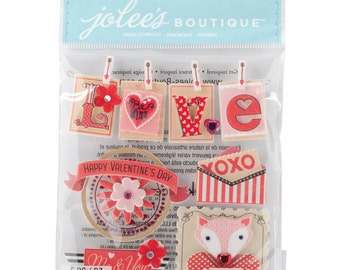 Jolee's Boutique Dimensional Stickers Valentine Words, Valentine's Stickers, Love Stickers