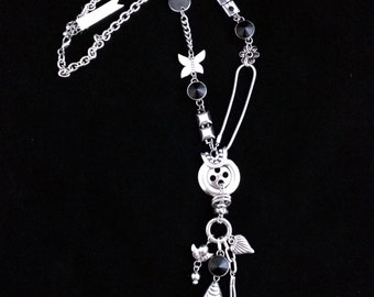 Original eclectic necklace by WINGS - silver tone and black
