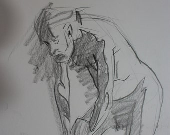 """Original Life Drawing of a Male Standing Pose, in Graphite, 12"""" x 9"""""""