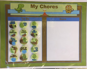 SALE! Dinosaur Chore Chart w/ Magnets
