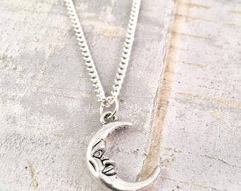To the moon necklace, crescent moon charm, Love you to the moon necklace, charm necklace, silver moon, half moon, for her