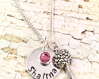 Flower Girl Necklace, Personalized Flower Girl Gift, Name necklace, Junior Bridesmaid, Mother daughter gift, for mom, Wedding Party, Bouquet