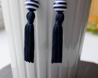 Navy Blue and White Striped Tassel Earrings, Fringe Earrings, Hypoallergenic Earrings, Yacht Earrings, Statement Earrings, Gift For Her