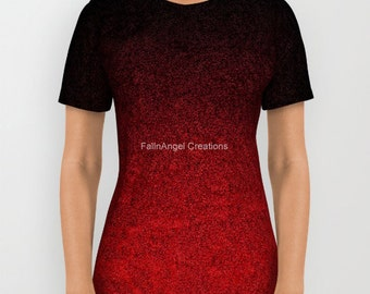 Red and Black Glitter Gradient T-Shirt, 6 Sizes Available!