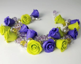 Rose Bracelet. Flower Bracelet. Purple and Lime Green Bracelet. Polymer Clay Charm Bracelet. Handmade Jewelry. Gift for Her.