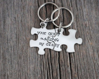 """Deadpool inspired """"your crazy matches my crazy"""" Couples keychain set / puzzle piece set / puzzle pieces"""