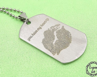 You have my Heart ~ Your Real Kiss Mark engrave engrave on Stainless Steel Army Tag Necklace/Keyring