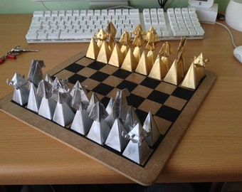 Lacquered Origami Chess Set - Silver and Gold - original present, lacquered paper board game, unique gift