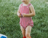 Red Striped Baby Romper, Valentines Day, Red and White Romper, July 4th, Toddler Romper, Baby Rompers, Summer Romper, Newborn Romper