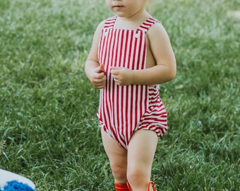 Red Striped Baby Romper, Red and White Romper, July 4th, Toddler Romper, Baby Rompers, Summer Romper, Newborn Romper