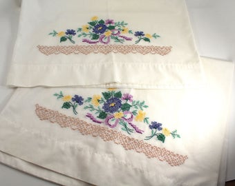 Vintage embroidered pillowcases - set of two, pair - blue and yellow flowers, floral, cross stitch, needlepoint, standard size, clean!