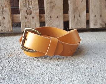 Men's Leather Belt - Hermann Oak - Veg Tan Leather - Handmade Belt - Brown Belt - Black Belt - Tan Belt - Made To Order - Colorado