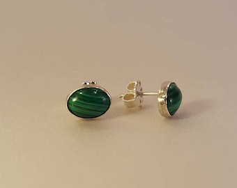 Oval Malachite and Sterling Silver Stud Earrings