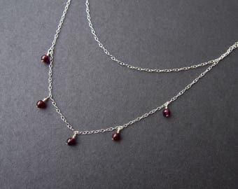 Layered Garnet necklace // Garnet beads & sterling silver