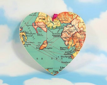 Isle of Man Map Heart, Wanderlust Gift, Wall Decor, Wooden Heart, Map Heart, Hanging Heart, Map Decoupage
