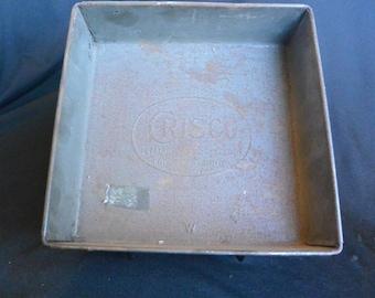 CRISCO Tin Square Baking Pan, 30s Vintage