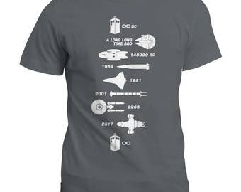 Spaceship Timeline Geek T Shirt