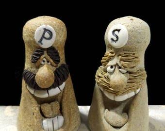 Vintage 1970s Chef Salt & Pepper Shakers  Studio Art Pottery Face Fun