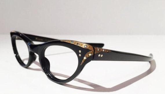 Black Cateye Glasses Frames with Rhinestones, New Old Stock, 50s 60s Black Cat Eye Rhinestone Eyewear, Sunglasses Frames Rockabilly
