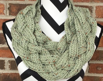 Green Braided Cowl *FREE SHIPPING*