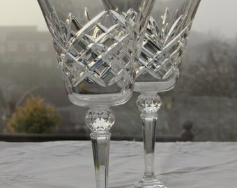 Vintage Wine Glasses, Cut Glass Wine Glasses, Pair of Crystal Wine Goblets, Vintage Wine Glasses, Elegant Cut Glass Goblets